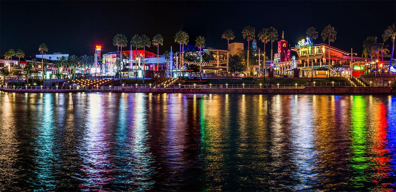 colorful building at the Orlando Citywalk at night