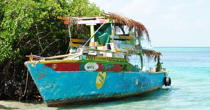 Quirky Boat With Slogans In Belize