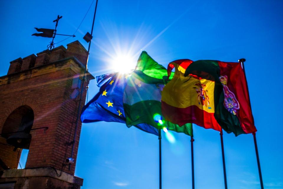 Spanish Waving Portugal Flags Eu Europe Spain