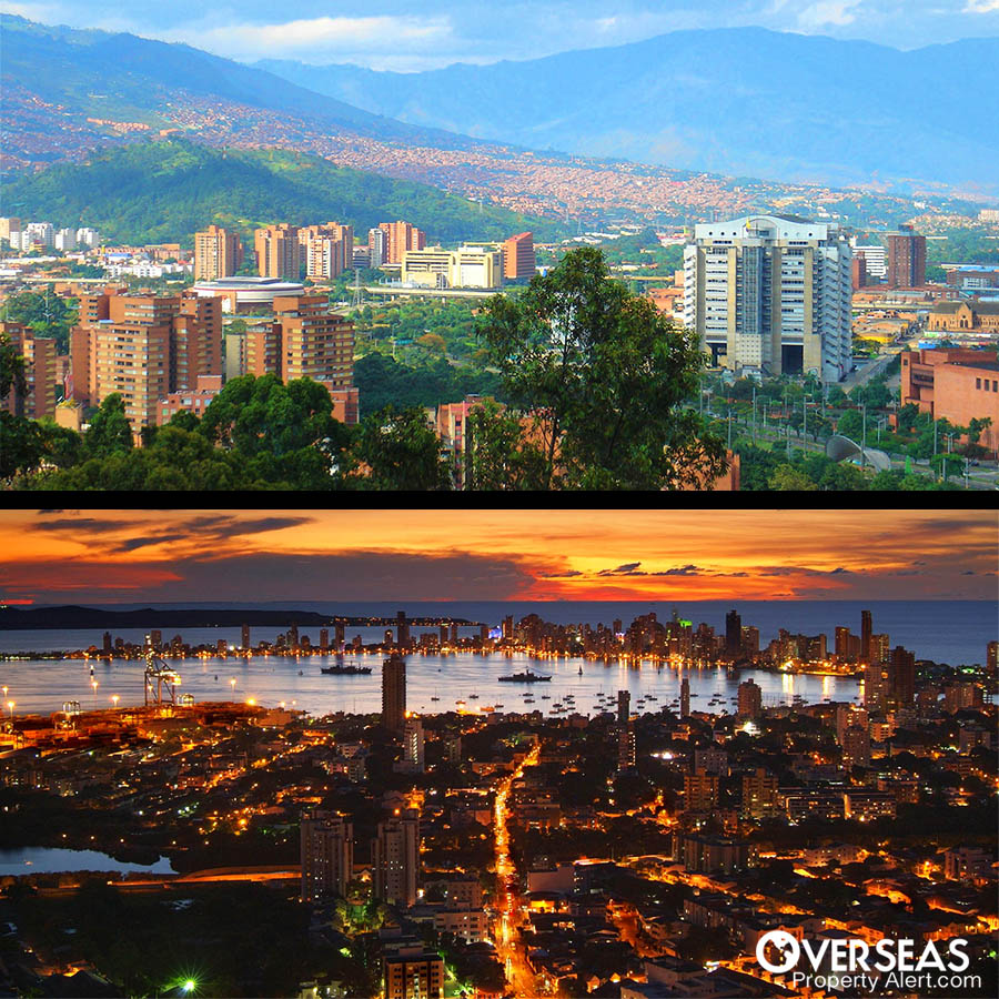 Medellin Vs Cartagena. Medellin set in the mountains with lots of trees and plants. Sunset image of Cartagena by the sea