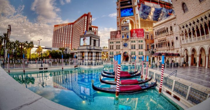 las vegas. casinos and venitian boats in the blue water