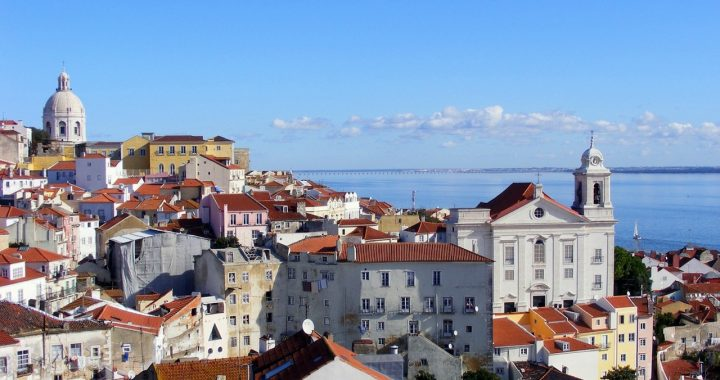 ariel view of lisbon and its many white buildings
