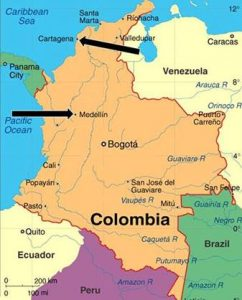 Map of colombia with arrows pointing to meddelin and cartagena