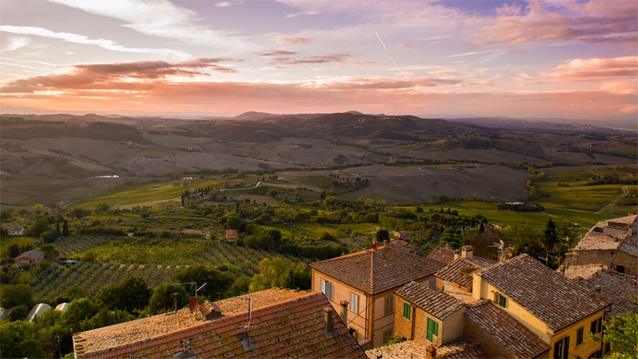 Sunset panorama of countryside fields in Abruzzo, Italy