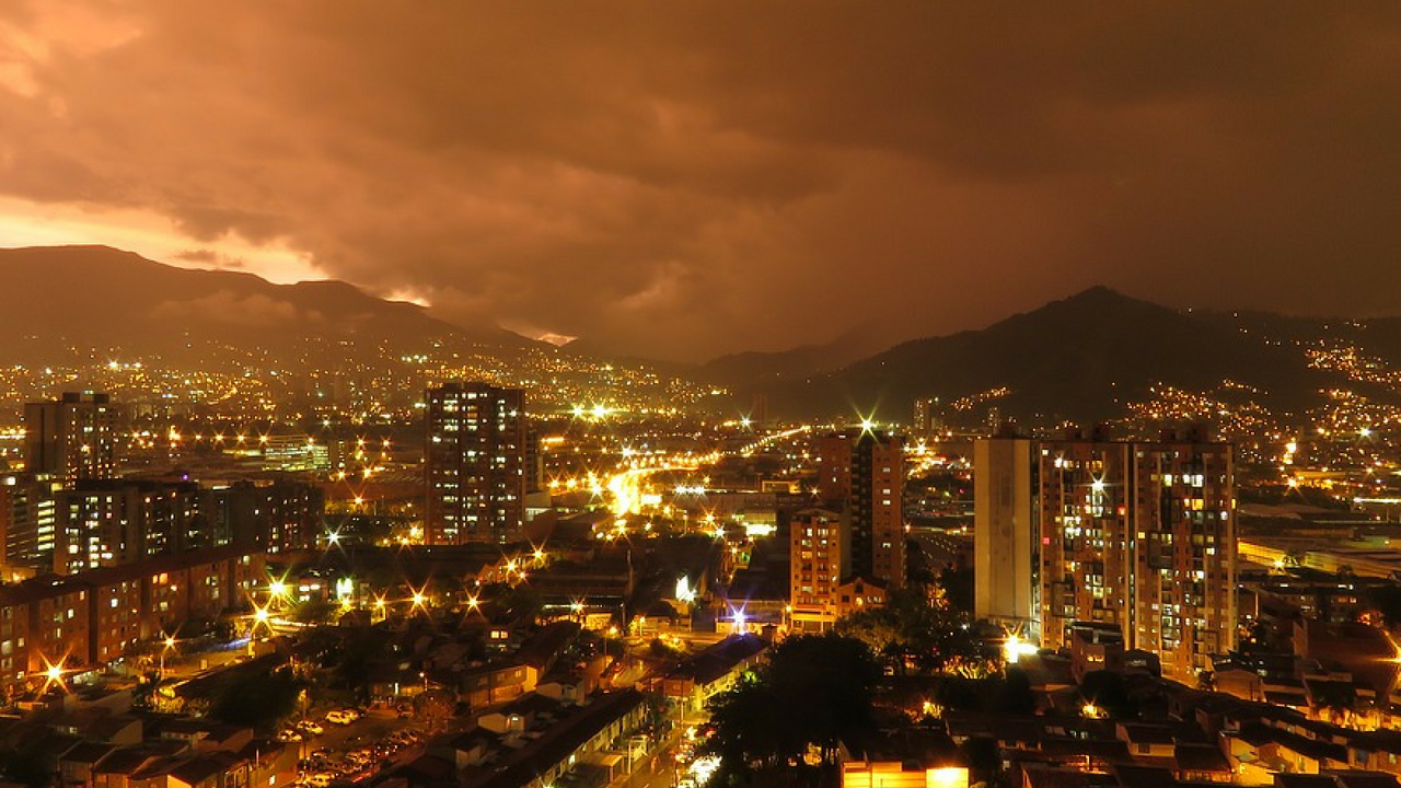 view of medellin city at night