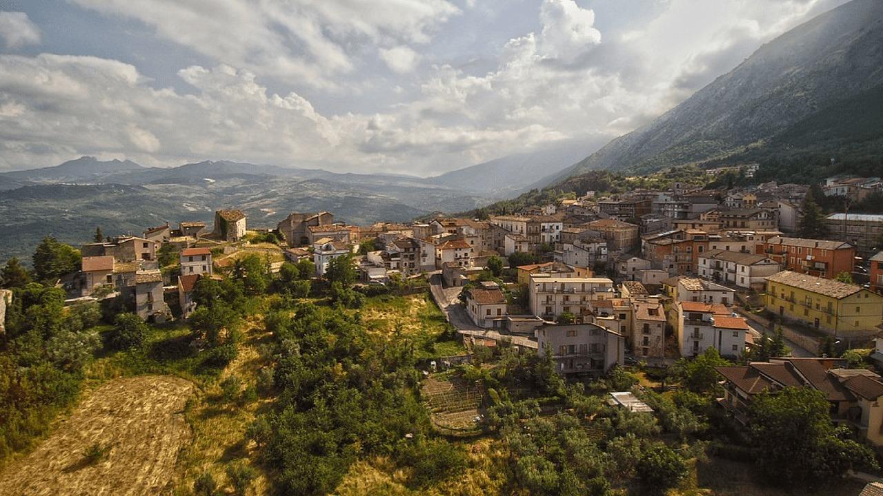 A hillside town in Abruzzo, Italy