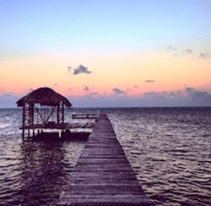 A pontoon and hut at Ambergris Caye