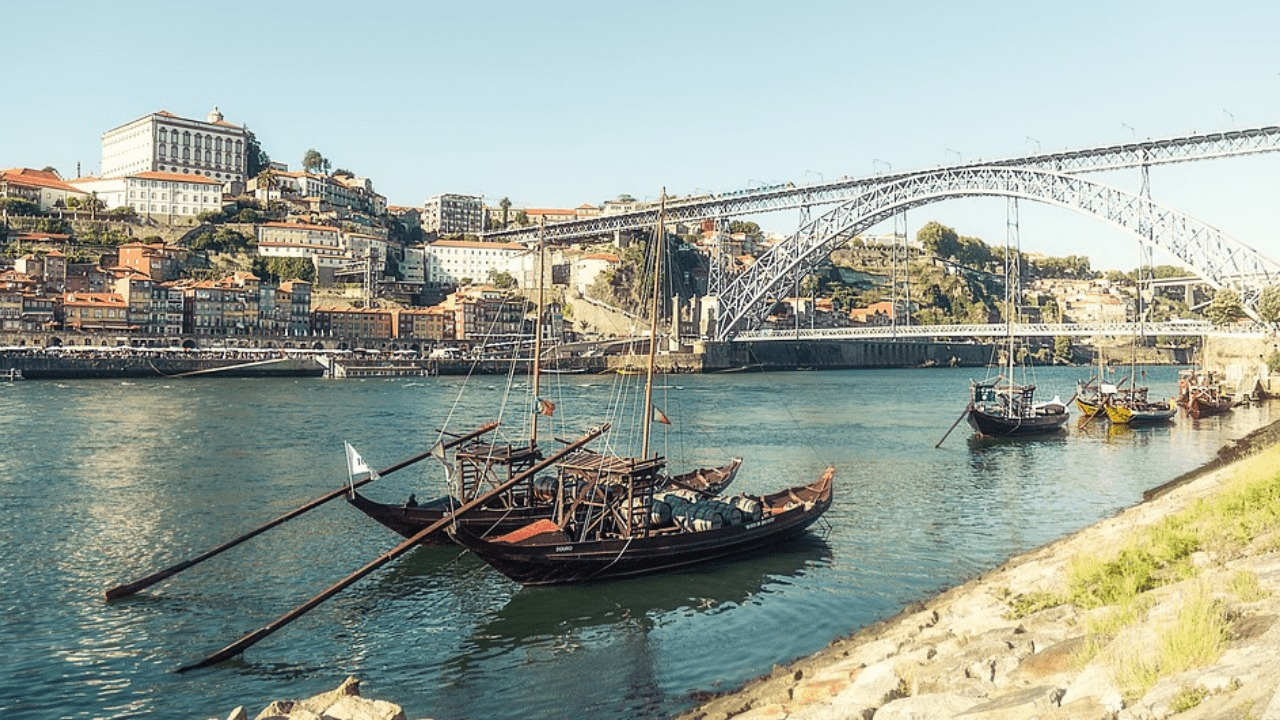Boats by the riverside in Porto, Portugal