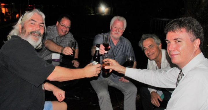 Lief and conference attendees enjoy a drink