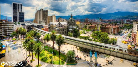 Medellin, Colombia Metro station and town center