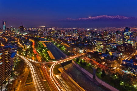 Santiago Chile view of the city at night