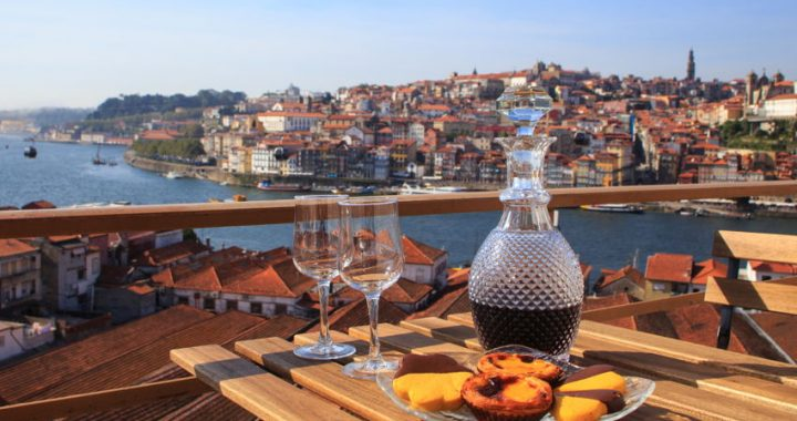 Port wine and some cakes in Porto, Portugal