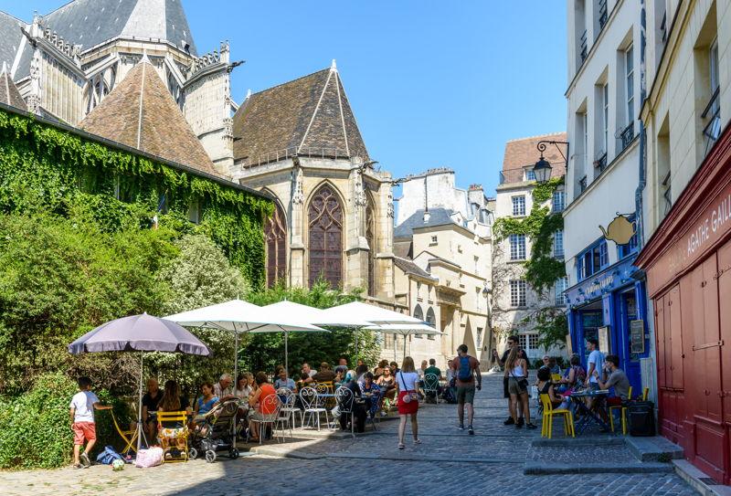 La Marais restaurant in Paris on a spring day.