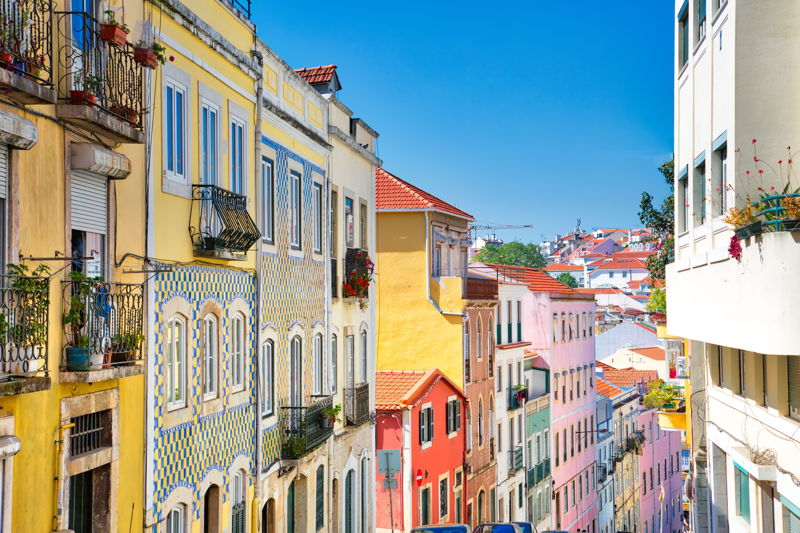 Colorful houses in the Lisbon sunshine