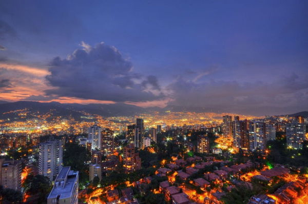 Medellin, Colombia at night