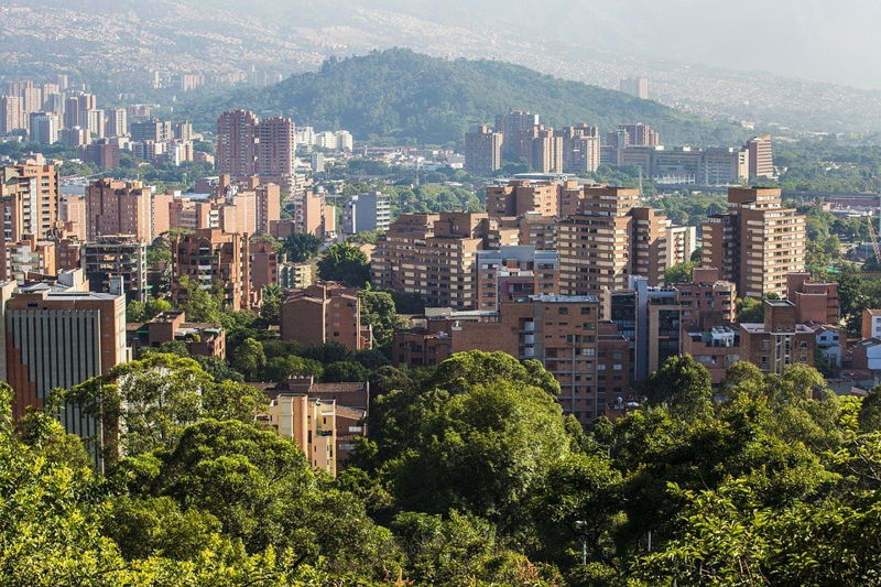 Medellin Colombia, view of the city and high rise apartment buildings