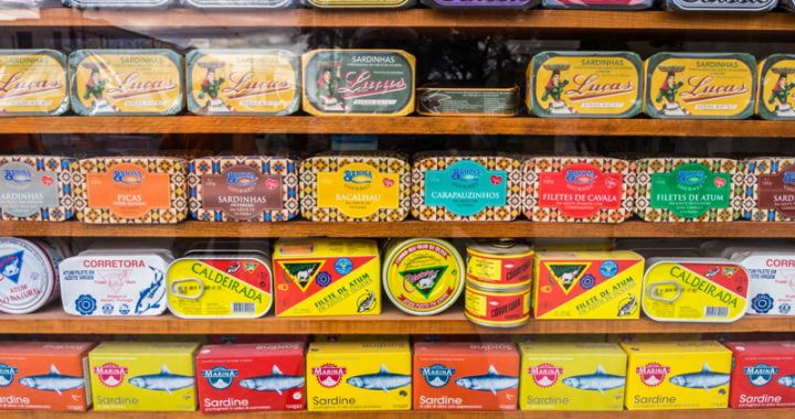 Array of different tinned fishes in Portugal