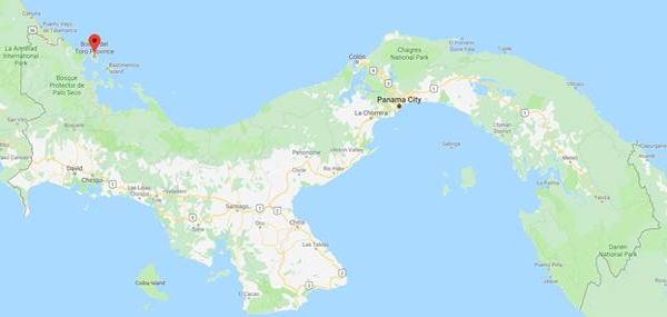 Google map of Panama with Bocas Del Toro highlighted