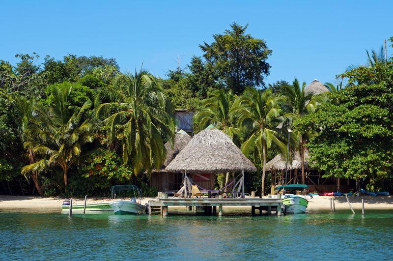 Caribbean hut on the ocean in Bocas Del Toro Panama