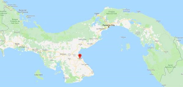 Google map image of Panama showing Chitre highlighted