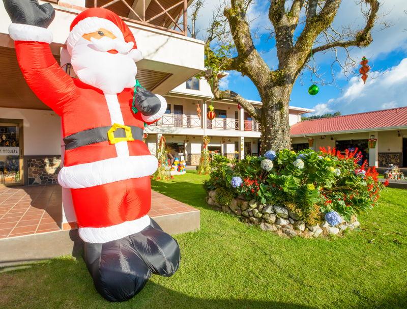 Christmas decorations santa outside houses in panama