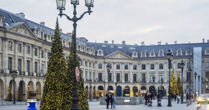 christmas trees outside buildings in paris