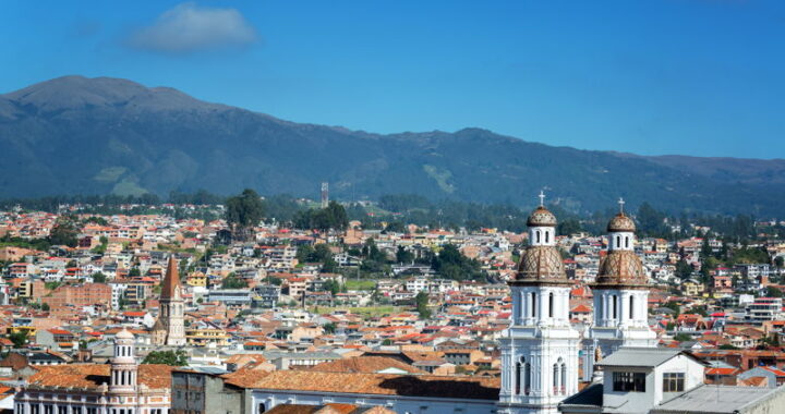 cuenca ecuador view across the colonial buildings and city