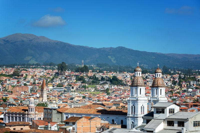 cuenca ecuador view across the colonial buildings and city