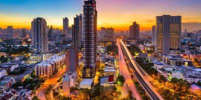 Bangkok, Thailand skyline from Krung Thon Buri on a beautiful sunrise.