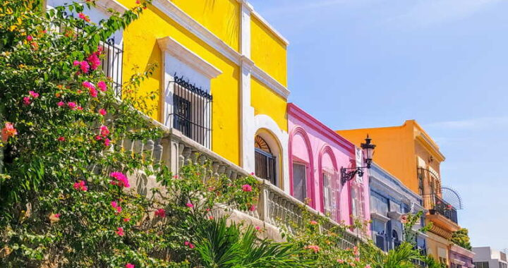 colorful houses in mazatlan mexico