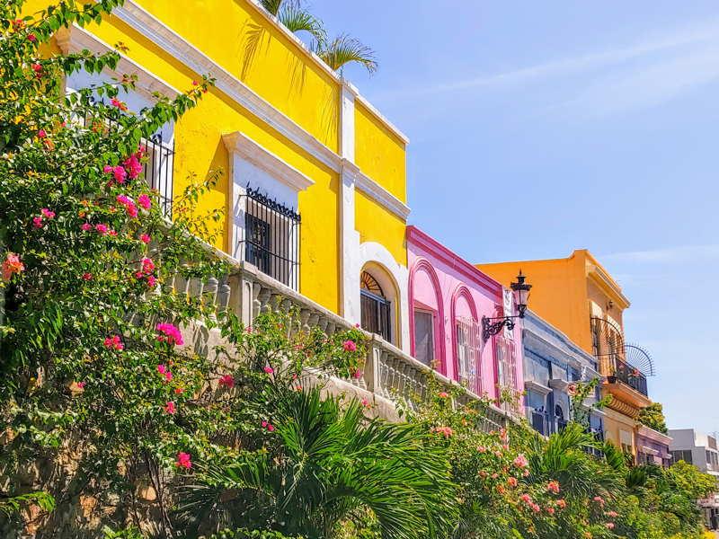 colorful houses in mazatlan mexico