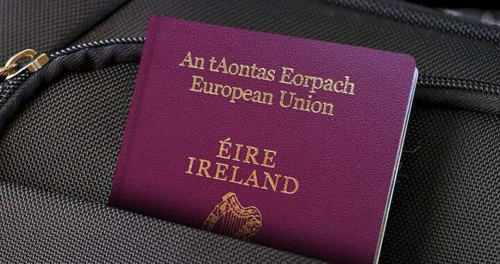 irish passport in a backpack