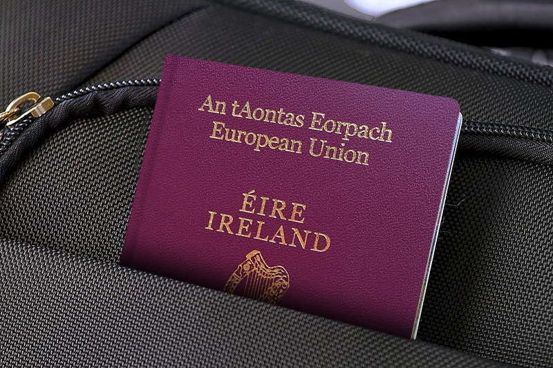irish passport in a backpack