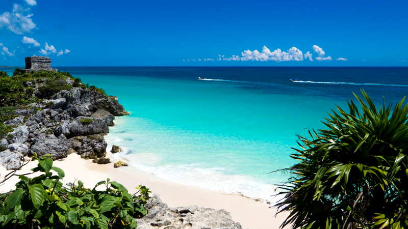 caribbean beach close to tulum mexico