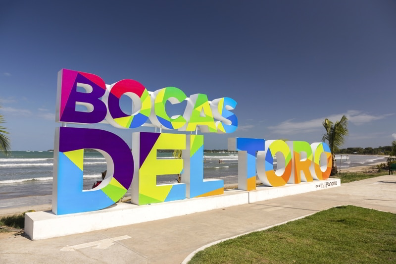 Bocas Del Toro, Panama. Colorful Large Block Letter Sign at Caribbean Sea Waterfron.