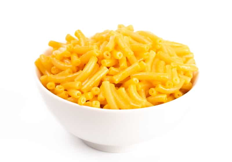 Mac and cheese in a bowl.