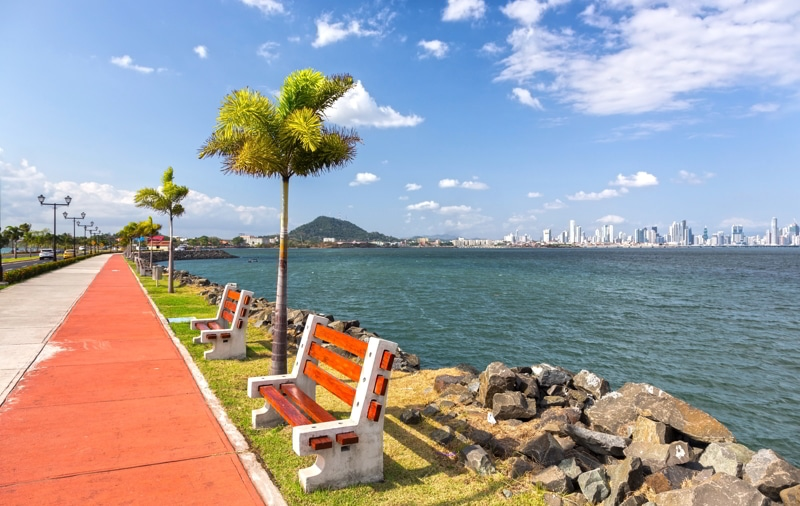 Amador Causeway road, Panama City on a sunny day.
