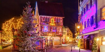 Christmas decorations in Alsace, France.