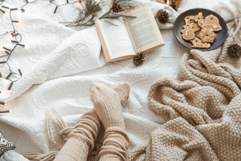 Cozy winter day at home with warm knitted blanket, book and gingerbread.