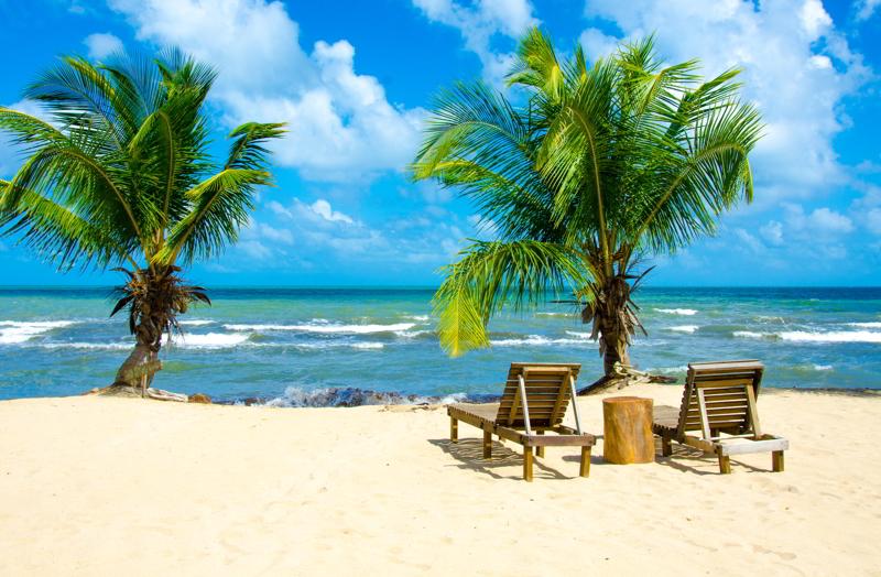 White beach on beautiful Belize.