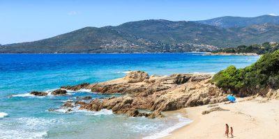 Beach at Penisola near Sagone, Corsica, France.