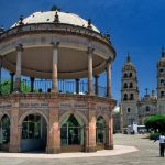 Bandstand, Cathedral at Plaza de Armas, Durango, Mexico.