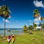 Kayaks at Corozal Bay seashore, Belize.