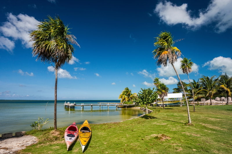 Kayaks at Corozal Bay seashore, Belize.