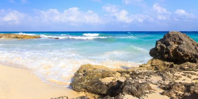 Caribbean sea scenery in Playa Del Carmen, Mexico.