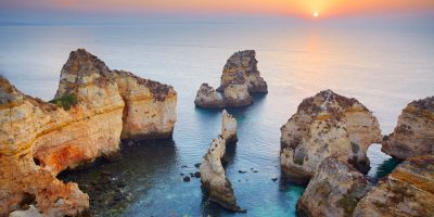 Sunrise at Algarve coast near Lagos, Portugal.