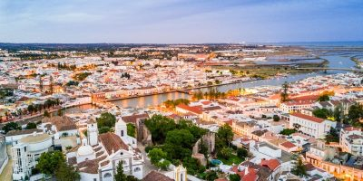 Moorish historic town of Tavira by Gilao river, Algarve, Portugal.