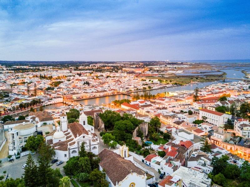 Moorish historic town of Tavira by Gilao river, Algarve, Portugal.