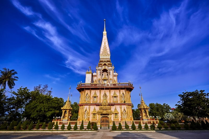 Wat Chalong is the most important temple of Phuket, Thailand