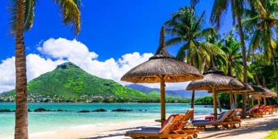 Relaxing life in tropical paradise, Mauritius island.